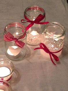Jam jar and paper doily Christmas decorations