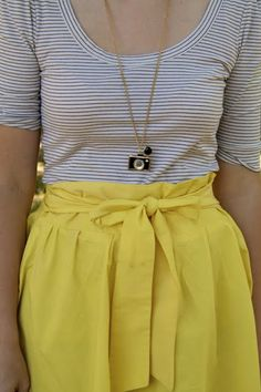 yellow. stripes. bows. necklace