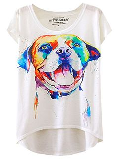 Futurino Womens Pit Bull Print Short Sleeve HighLow Hem Tops Casual Tee >>> You can find more details by visiting the image link.Note:It is affiliate link to Amazon.