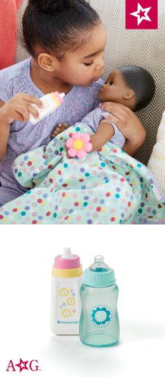 """Your girl can """"feed"""" her Bitty Baby with these bottles. Cosas American Girl, All American Girl Dolls, My Baby Wont Sleep, Grey Baby Cribs, Baby Images, Bitty Baby, Ag Dolls, Toys For Girls, Your Girl"""