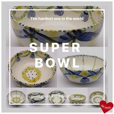 Touch down for real Super Bowl 😉 Super Bowl, Serving Bowls, Hand Painted, House Design, Touch, Unique, Tableware, Interior, Tablewares