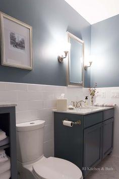 A Simply Charming Bathroom Design by #RIKB #BathroomDesign #Vanity #GlassEnclosure #WalkInShower #Sconces #Blue