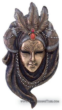13 Inch Venetian Mystique Mask Wall Plaque - Pearl, Bronze Colored >>> Click image for more details-affiliate link. Clowns, Venitian Mask, Mask Face Paint, Venice Mask, Venetian Masquerade Masks, Carnival Masks, Mystique, Masks Art, Mixed Media Canvas