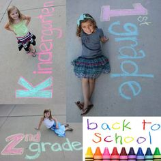 Back to School time!! Capture the memory of the first day of school with these creative and fun ideas!!! Write your child's grade and school year in chalk on your driveway, have your child sit or stand next to your artwork and snap that photo!