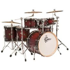 Gretsch Drums Catalina Maple CMT-E826P-DCB 6-Piece Drum Set Dark Cherry Burst by Gretsch Drums. $1018.98. The popular Gretsch Catalina Maple series includes maple shells with natural interiors and 30-degree edges for full, warm Gretsch tones. Drums are finished in UV lacquer with matching wood bass drum hoops, high quality chrome hardware and drum heads by Evans.. Save 34% Off!