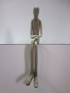 Jorge figurine sculpture sitting skinny man, contemporary ceramic sculpture