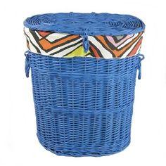 Wiklinowy kosz na bieliznę niebieski obszyty materiałem wzór - LYNDBY