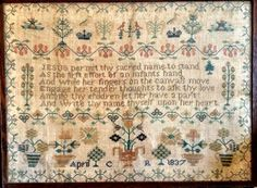 1837 Antique Sampler - this is the original - Plum Street Samplers did a reproduction - beautiful saying