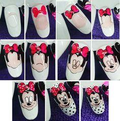 Mickey Nails, Minnie Mouse Nails, Glitter Nail Polish, Acrylic Nails, Love Nails, Pretty Nails, Nail Art Disney, Sculpted Gel Nails, Daisy Nail Art