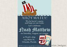 Boy Pirate Party Invitation DIY Printable 5x7 - Boy Pirate Birthday Ahoy Matey. $14.00, via Etsy.
