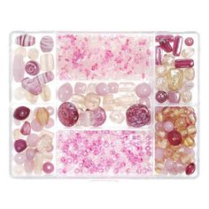 4.07$ Why choose our pink glass bead box? Each of our plastic organizers includes 7 varieties of glass beads to help you create unique jewelry for any event. Create beautiful necklaces, earrings and other accessories using the different sizes and styles included in each bead box. This bead kit includes 110 grams of pink glass beads.Need some inspiration? Browse our entire collection of glass beads to find the ones that spark your creativity.