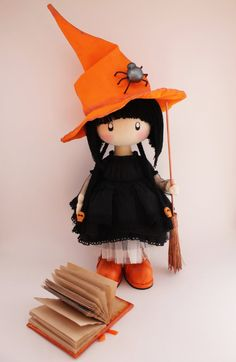 Doll little witch Kiki  halloween witch halloween  doll  witch home decor cloth witch witch's broom hat