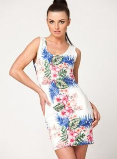 Floral Print Bodycon Sleeveless Dress with Cutout Back,  Dress, floral print  cutout back, Chic