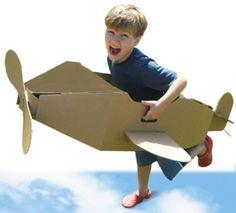 Cardboard Airplane, Cardboard Toys, Cardboard Playhouse, Cardboard Furniture, Games For Kids, Diy For Kids, Activities For Kids, Airplane Party, Airplane Costume