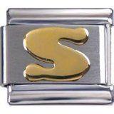 Toc Stainless Steel Initial S Italian Charm For Italian Bracelet