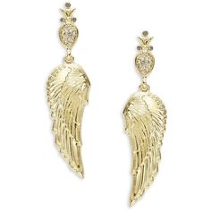 House of Harlow 1960 Crystal Pave Goldtone Angel Wing Drop Earrings ($24) ❤ liked on Polyvore featuring jewelry, earrings, gold, pave stud earrings, angel wing earrings, stud earrings, gold tone drop earrings and pave jewelry