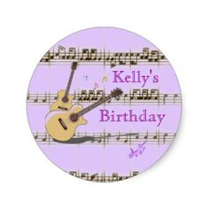 COLUMBUS DAY SALE! 50% OFF ALL STICKERS 10/9/14 UNTIL MONDAY 10/13/14 Use Code: SALETHEOCEAN Music Notes & Guitars Classic Round Stickers - Great for Music Themed Party Favors! #stickers #roundstickers #partyfavors #music #musictheme #moondreamsmusic #birthdayparty
