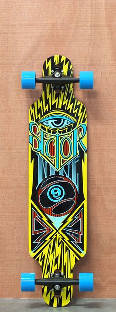 """$261.00 Sector 9 39"""" Seeker Yellow Longboard Complete this is the one I have but black and blue l."""