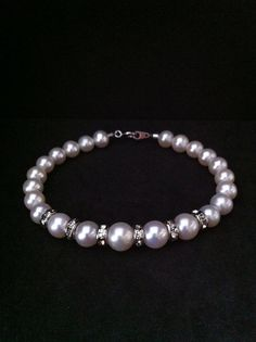 High Quality White Fresh Water Pearl with Rhodium by SwamiJewelry, $38.00