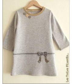Robe fillette en tissu sweat - Robe fillette en tissu molleton