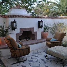 fireplace to stucco wall. Mediterranean Patio Design Ideas, Pictures, Remodel and DecorAdd fireplace to stucco wall. Mediterranean Patio Design Ideas, Pictures, Remodel and Decor Spanish Courtyard, Spanish Garden, Courtyard Gardens, Spanish Patio, Spanish Kitchen, Outdoor Kitchen Design, Patio Design, Tile Design, Courtyard Design