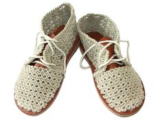 Boho Crochet Linen Macrame Summer Shoes by Cynamonn on Etsy, $160.00