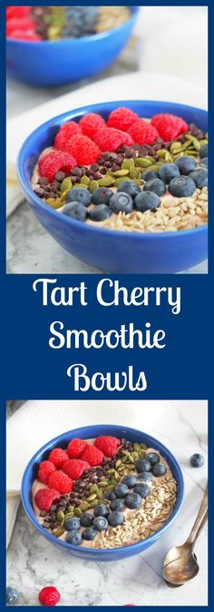Tart Cherry Smoothie Bowls are extra thick smoothies full of filling protein, healthy fats and a balance of sweet and tart fruits, and topped with plenty of crunch for a complete meal. From @comfortdomestic