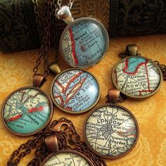 Custom Vintage Map Pendant Necklaces --- You Pick the City or Location