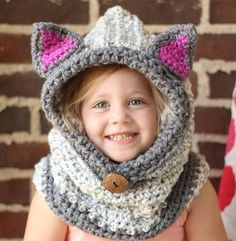 This is a gorgeous kitty cat hooded cowl. The bulky yarn and ridges I have crocheted into the hat give it a rich texture that sets it above the