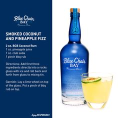 Here's a Sunday Sipper: Coconut Rum + Pineapple Juice + Club Soda + BBQ Rub = Smoked Coconut Pineapple Fizz #RumOn