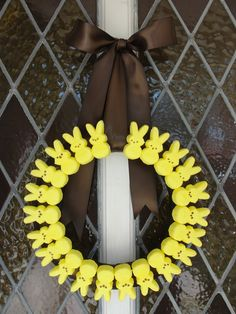 .peep wreath. Love this but it the birds eat my wreath now they will deff eat this!   I could make this... will someone buy me some peeeps and a circle so it will be round?