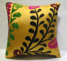 Antique handmade suzani embroidery cushion KELIM kissen 17.2'' x 16.4''  (s 03)  #Handmade