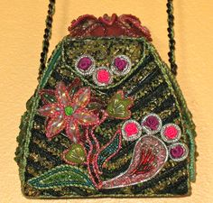 Vintage Mary Frances Beaded Purse Handbag Pocketbook Flowers
