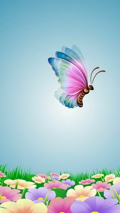 Colourful butterfly and flowers Wallpaper Nature Flowers, Rose Flower Wallpaper, Beautiful Flowers Wallpapers, Butterfly Wallpaper, Flower Backgrounds, Pretty Wallpapers, Beautiful Butterflies, Wallpaper Backgrounds, Butterfly Painting