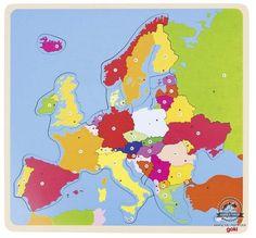 Drewniana układanka MAPA EUROPY puzzle GOKI