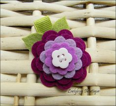 Sweet Wool Felt Flower Clip  Autumn Berry by LadybugBowtique