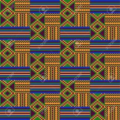 Illustration of Kente cloth. vector art, clipart and stock vectors. Tribal Print Pattern, Textile Pattern Design, Tribal Prints, Textile Patterns, Print Patterns, Pattern Fabric, Floral Patterns, Stitch Patterns, African Tribal Patterns