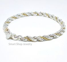 dec9d6edd <b>Tiffany & Co.</b> Sterling Silver 18 Karat Yellow Gold Rope Bracelet