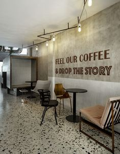 Image 8 of 40 from gallery of Black Drop Coffee Shop / of Architecture. Photograph by studiovd. Cafe Interior Design, Cafe Design, Terrazzo, Coffee Lab, Drink Coffee, Coffee Lovers, Industrial Cafe, Industrial Coffee Shop, Modern Industrial
