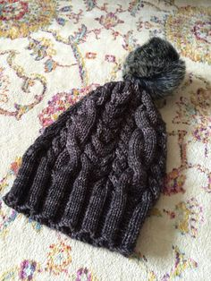 Charcoal Grey Slouchy with Large Pompom - Hand Knitted Hat for Women - Grey Cabled Slouchy -  Grey Slouchy Hat