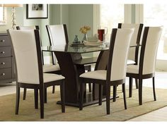 Interesting Glass Top Dining Room Tables with remarkable Walnut: Interesting Classic Casual Wooden Espresso Finish Piece Glass Top Dining Table Set With Lovely Bi Cast Leather Chairs And Trestle Designs Sets For Fancy Comfortable Dinimg Room ~ 2-quick.com Dining Room Design Inspiration