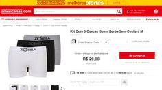 (AMERICANAS) Kit Com 3 Cuecas Boxer Zorba Sem Costura R$ 29,88