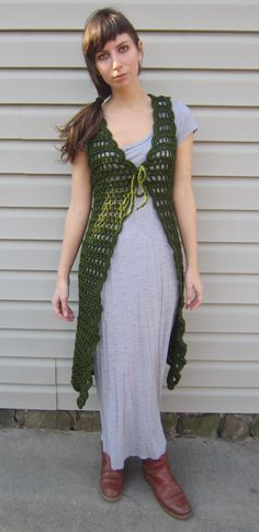 Green crochet vest, midi length vest, vintage, gypsy style from vintage pattern| The pattern is free somewhere on the Internet.