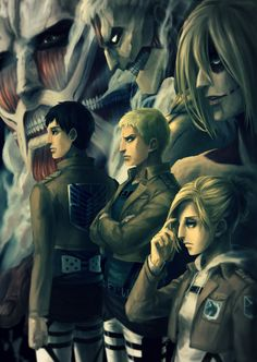 Poster A3 Shingeki No Kyojin Eren Mikasa Armin Reiner Ymir// Attack Titan 02