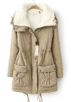 Khaki Plain Drawstring Pockets Thick Cotton Blend Parka. Love this for fall to winter