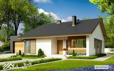 EX 11 (wersja C) soft - projekt domu - Archipelag Modern Barn House, Modern Bungalow House, Simple House Plans, Family House Plans, Rest House, My House, Building Facade, Building A House, House Viewing