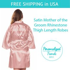 0de3edc0a46a Pink Satin Mother of the Groom Thigh Length by PersonalizedTrends Wedding  Day Robes