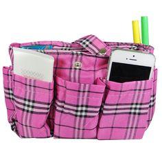 Wrapables Plaid Print Handbag Organizer, Pink