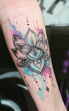 Watercolor Rainbow Colorful Lotus Mandala Chandelier Forearm Tattoo Ideas for Women -  ideas coloridas del tatuaje del antebrazo - www.MyBodiArt.com