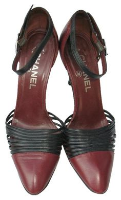 Chanel Two Tone Pleated Leather Ankle Strap Crystals Charm 38 7.5m Burgundy  Pumps. Get. Tradesy a4eae2b43dec